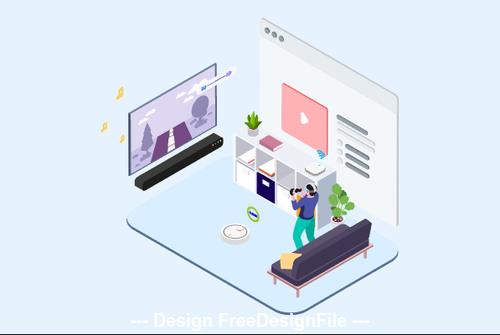 Smart Echo VR Game Illustration vector