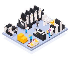 Smart Factory 3d isometric vector