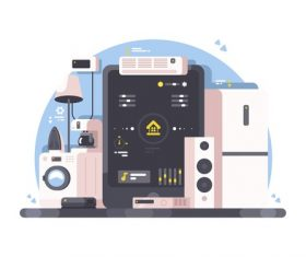 Smart Home Conceptual Illustrations vector