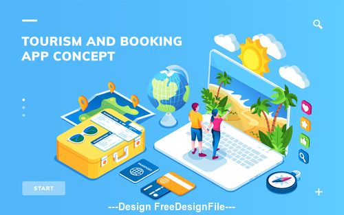 Smart life tourism and booking cartoon illustration vector