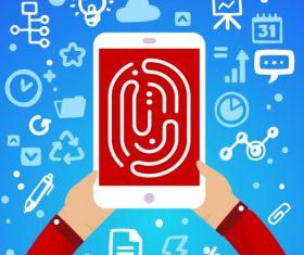 Smartphone fingerprint infographics vector
