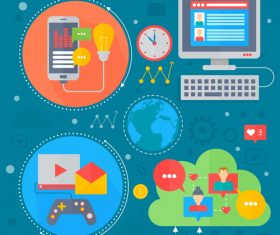 Social media flat design concept vector