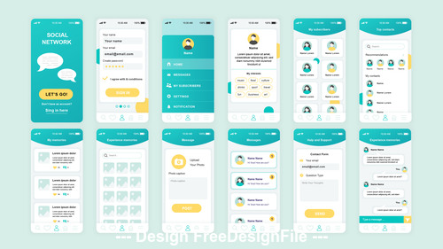 Social network mobile app ui kit vector