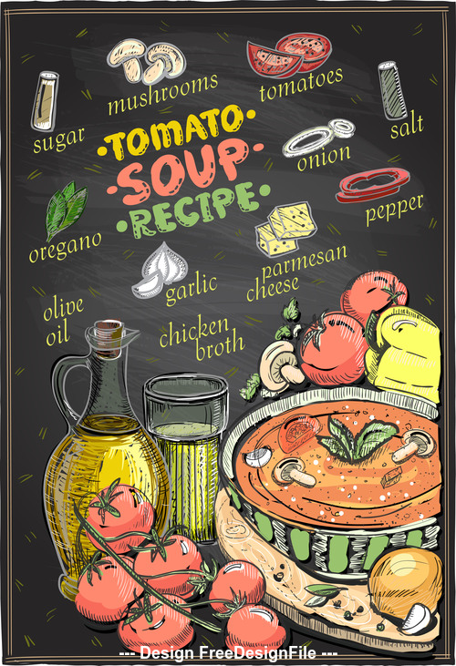 Soup color recipe vector