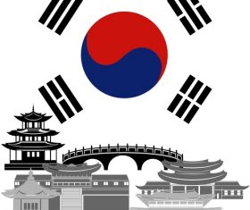 South Korea collection of different architecture vector