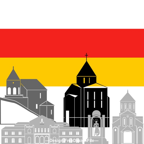 South Ossetia collection of different architecture vector