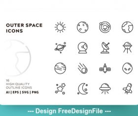 Space outline vector