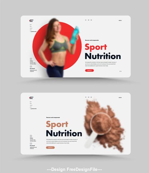 Sport nutritionist website home design vector