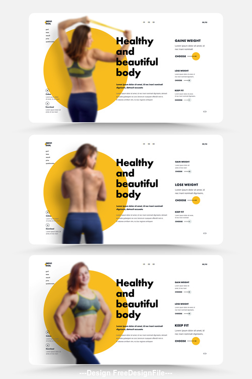 Sports trainer website main page vector