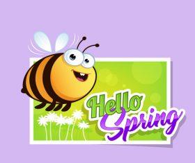 Spring bee cartoon vector