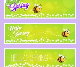 Spring cartoon bee banner vector