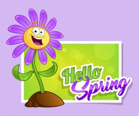 Spring flowers cartoon vector
