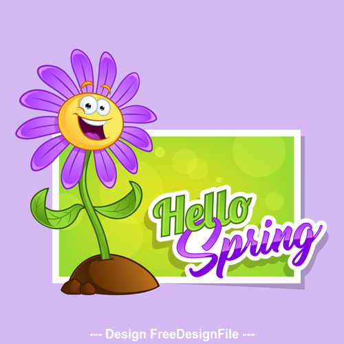 Spring flowers cartoon vector free download
