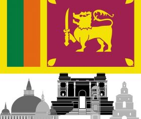 Sri Lanka collection of different architecture vector