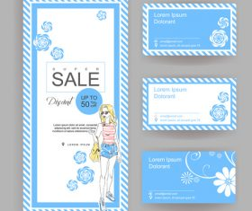 Store female supplies promotion card vector