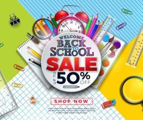 Student supplies half price sale template vector