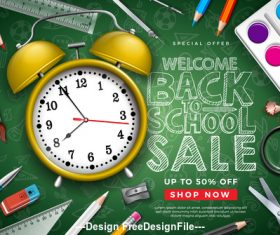 Student supplies sales background design vector