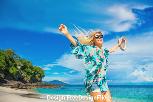 Summer boliday beach with happy girl stock photo