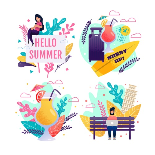 Summer holiday and travel vector