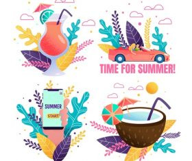 Summer travel and romantic holiday set of banners vector