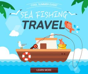 Summer travel sea fishing vector