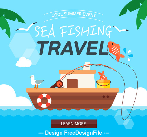 Summer travel sea fishing vector