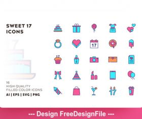 Sweet filled color vector