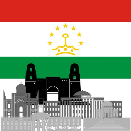 Tajikistan collection of different architecture vector