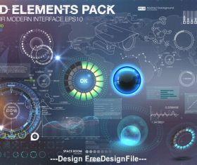 Technology abstract background with different elements vector 01