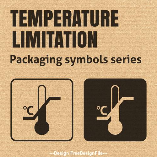 Temperature limitation packaging symbol vector
