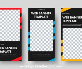 Templates for web banners with space for photos vector