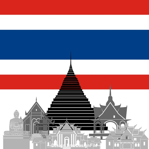 Thailand collection of different architecture vector