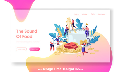 The sound of food flat banner vector