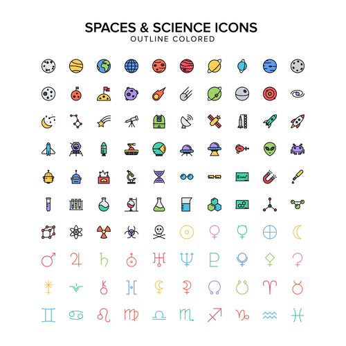 The spaces science icons vector