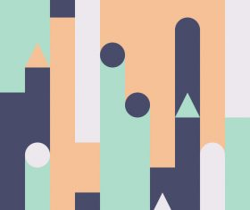 Three colors castle abstract geometric vector backgrounds