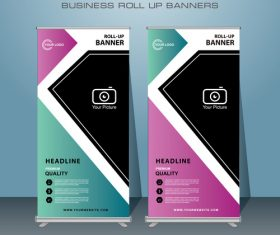 Three colors roll banner design vector template