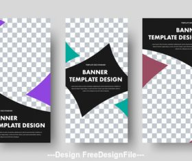 Three design banner template vector
