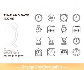 Time outline vector