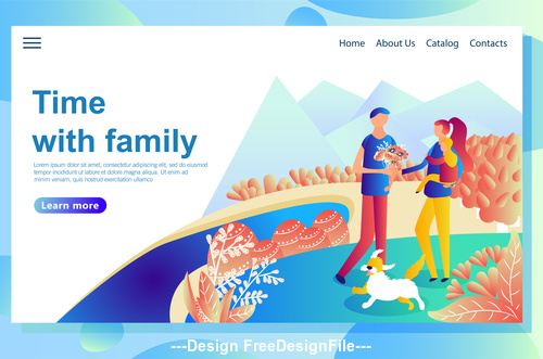 Time with family flat banner vector