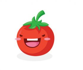 Tomato cute organic vegetables cartoon expression vector