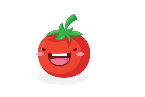 Tomato cute organic vegetables cartoon expression vector