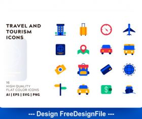 Travel and tourism flat color vector