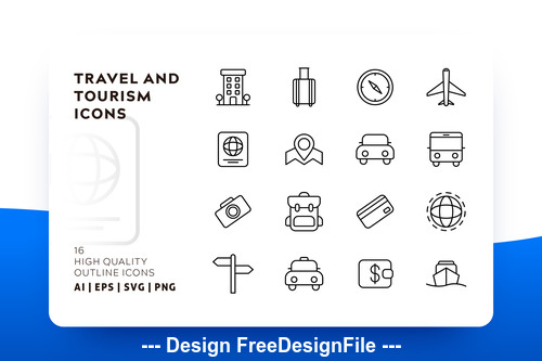 Travel and tourism outline vector