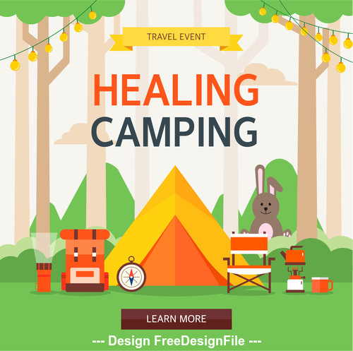 Travel healing camping vector