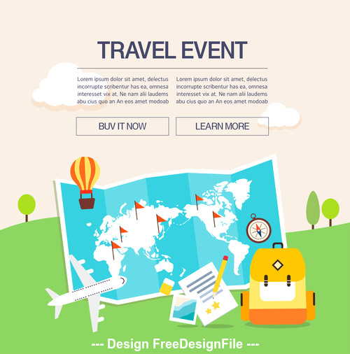 Travel map illustration vector
