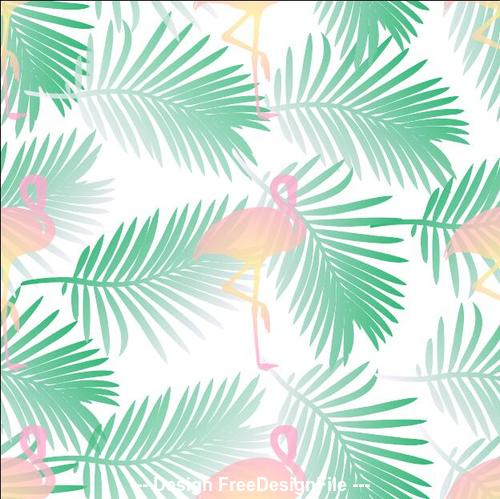 Tropical plants and flamingo background pattern vector
