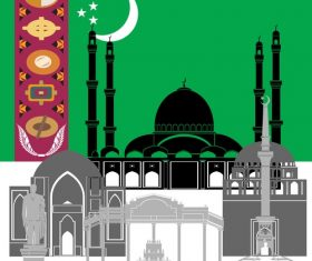 Turkmenistan collection of different architecture vector