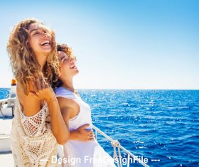 Two girls on boat stock photo