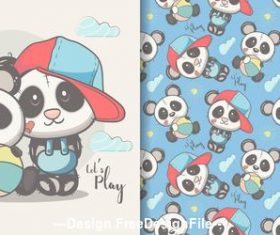 Two panda cartoons seamless pattern vector