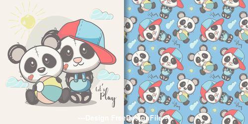 Two panda cartoons seamless pattern vector